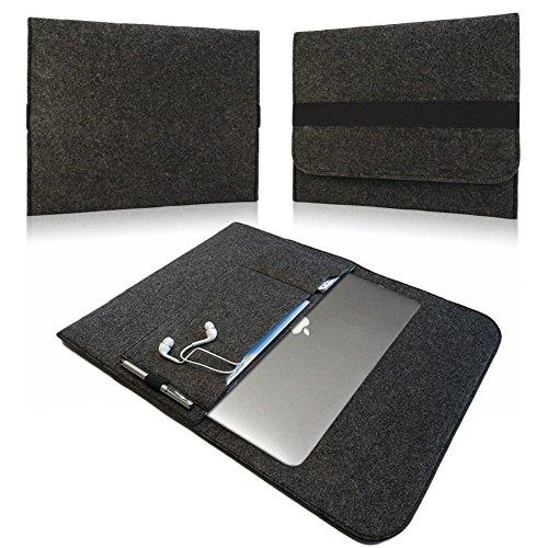 NAUC Notebook Sleeve Hülle TrekStor SurfTab Duo W3 Hülle Ultrabook Cover Tasche Filz, Farben:Dunkel Grau