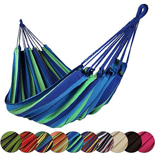 BB Sport Hängematte XL 220 x 170 cm max. Belastbarkeit 250 kg Tragetasche 1-2 Personen Camping Garten Balkon Terasse Wetterfest, Farbe:Mauritius