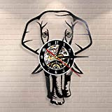 BFMBCHDJ Safari Animal Elephant Wall Art Reloj de Pared African Wildlife Animal Elephant Nursery Wall Decor Vintage Vinyl Record Reloj de Pared
