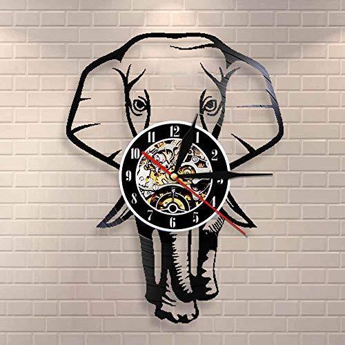 wtnhz LED Reloj de Pared de Vinilo Colorido Safari Animal Elefante Mural Arte Reloj de Pared Africano Animal Salvaje Elefante Elefante guardería Mural Retro Vinilo Registro Reloj de Pared