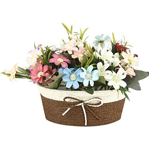 Homeofying - Jarrón de mimbre artificial con maceta de flores artificiales para decoración de bodas, fiestas y bricolaje, 1 unidad