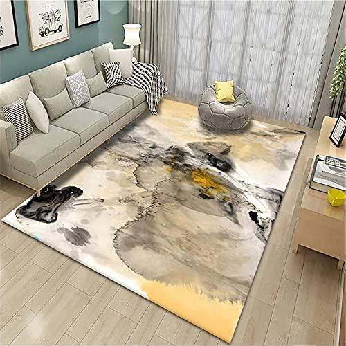 alfombras para dormitorios,Alfombra Amarilla, patrón de Tinta El Desgaste de Aislamiento de Sonido y balcón Duradero se Puede Lavar Alfombra ,Alfombra de Cocina -Amarillo_140x200cm