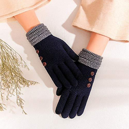 ZEEKYLY Handschuhe Damen Winter Verdickung Stricken Touchscreen Ride Bike Five Fingers OutdoorDunkelblaue Handschuhe