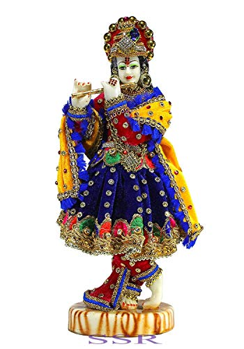 SSR-Shree Krishna hermosa estatua multicolor atractiva/estatua murti india hecha a mano casa/templo estatua decorativa - 1pc