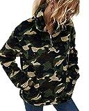 LIVACASA Felpe Donna Pullover Morbido Pile Tops Termico a Manica Lunga Maglione Donna Caldo con Tasche Ragazza Invernale Verde S