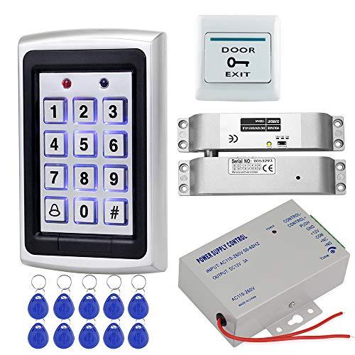 HFeng Kit Sistema Control Acceso Metal 125KHz RFID Teclado Control Acceso Lector EM Reader + Cerradura Perno Eléctrico + Fuente Alimentación DC12V / 3A + 10pcs Llaveros Keychains