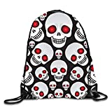 uykjuykj Bolsos De Gimnasio,Mochilas,Drawstring Backpack Red Eye Skull10 Lightweight Unique 17x14 IN
