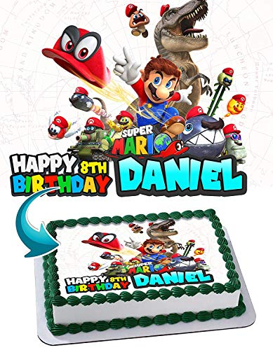 Super Mario Odyssey Edible Image Cake Topper Party Personalized 1/4 Sheet