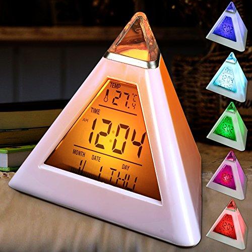 EsportsMJJ piramide vorm digitale wekker met datum temperatuur 7 kleuren LED verandering achtergrondverlichting