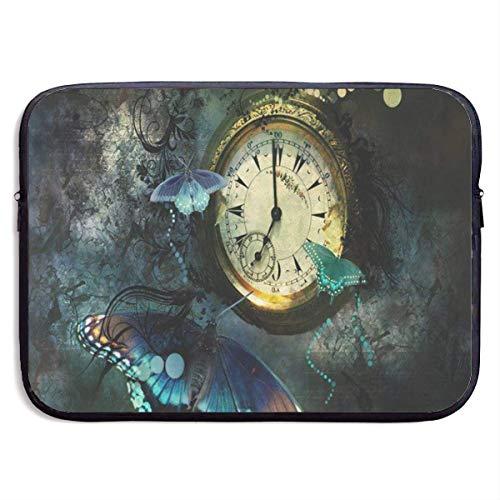 Uhr Schmetterlingsdruck Laptop-Hülle, stilvolle niedliche Notebook-Tragetasche Handtasche