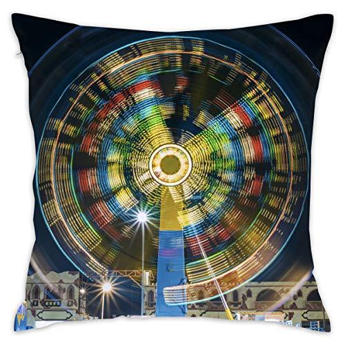 Jiger Throw Pillow Kussenhoes, Time-Lapse Fotografie of Ferris Wheel, decoratieve sierkussens, 18 x 18 inch