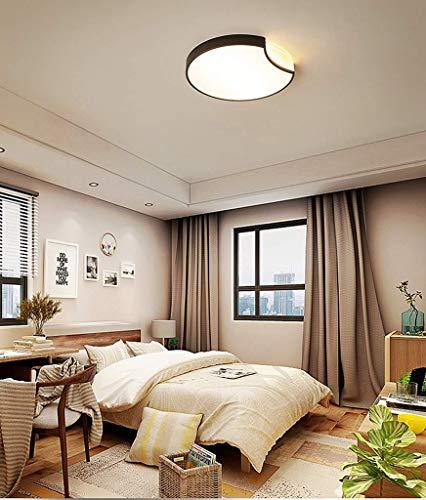 BOSSLV Led-Deckenleuchte Rund Einfache Einfache Metall- und Acryl-Innenbeleuchtung Büro-Küchenzeile Balkonflurleuchte [Energieklasse a ++] Schwarz 50 * H5 cm 36W Dimmbar