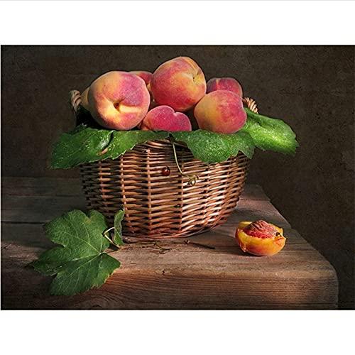 Kit de pintura al óleo para adultos Fruta Pintar por Números Niños decoraciones regalos(16 * 20 Pulgadas, con marco)