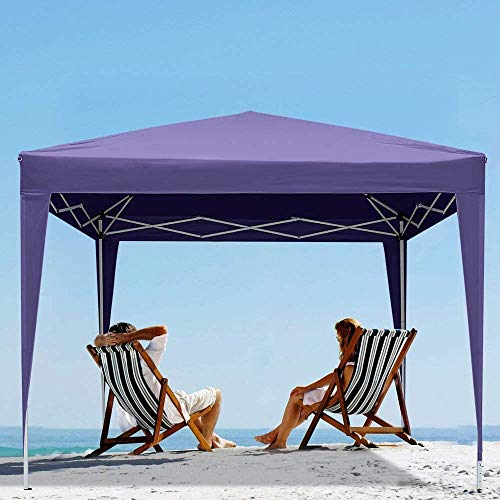 Foldable Polyester Material Outdoor Garden Pavilion Awning Four skylights and Two Side Walls of The Door is Suitable for Family Gatherings, Parties, Beach, Garden,D-3 x 3 m