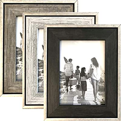 Tasse Verre Rustic Frames - Distressed Farmhouse Industrial Frame - Ready to Hang or Stand - Built-in Easel - Silver Galvanized Metal Look with Wood Insert
