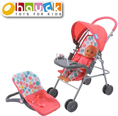 Hauck 14 inch Baby Doll Travel System with Doll Car Seat and Stroller Featuring Canopy and Play Tray