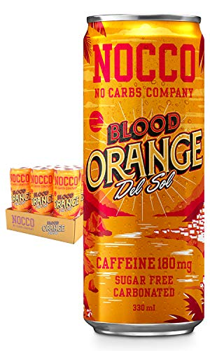NOCCO BCAA Blood Orange Del Sol | 12 x 330ml | Zero Sugar Functional Energy Drink | No Carbs Company | Vitamin Enhanced With 180ml Caffeine | Flavoured Functional Drinks for Health, Fitness & Everyday