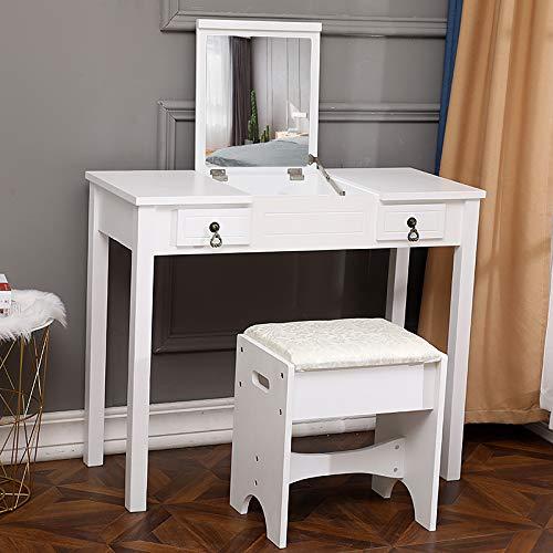 LFDHSF Dressing Table Flip Single Mirror Double Drawers Straight Feet Dresser White