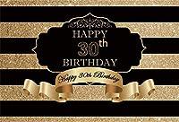 新しい7x5ft Royal 30th Birthday Backdrop Black and Gold Stripes 30年Old Anniversary 画像graphy background Lady Gentlemen Portrait Dessert Table Decoration 画像 Booth Digital Wallpaper