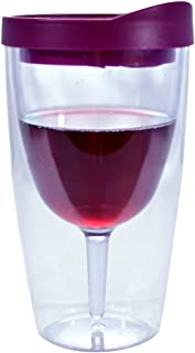 Wine Tumbler - 10oz Insulated Vino Double Wall Acrylic With Merlot Red Drink Through Lid - Wine 2Go!