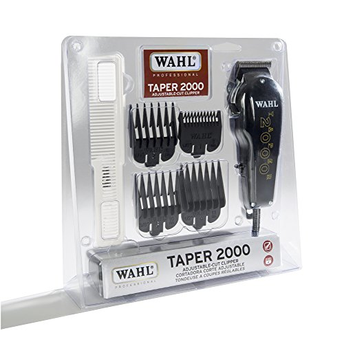Wahl Professional Taper 2000 Adjustable Cut Clipper, Black Blade Attachments