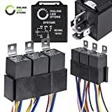 ONLINE LED STORE 5 Pack Bosch Style 5-Pin 12V Relay Kit [60/80 Amp Heavy Duty] [Interlocking Harness Socket Holder] [12 AWG Hot Wires] [SPDT] 12 Volt Automotive Relays for Auto Fan Cars
