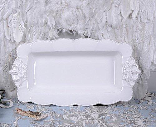 PALAZZO INT Kuchenplatte Weiss Schale Shabby Chic Porzellanschale Servierplatte