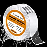 Double Sided Tape Heavy Duty, Mounting Tape Multipurpose Reusable Traceless Strong Adhesive Carpet Mat Washable Clear Anti Slip Fix Tape Gel Grip Tape for Wall Home Office Car —17 FT