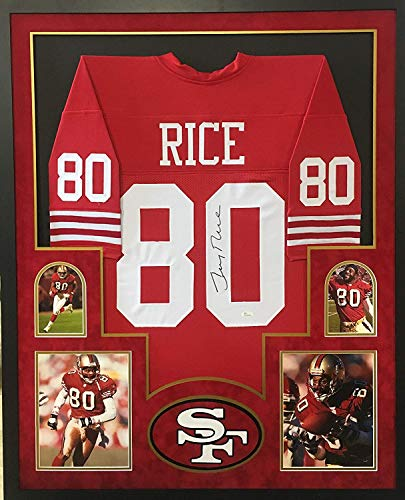 Jerry Rice San Francisco 49ers Signed Autographed Custom Framed Red Jersey 4 Picture Suede Matted Tristar Authentic Certified