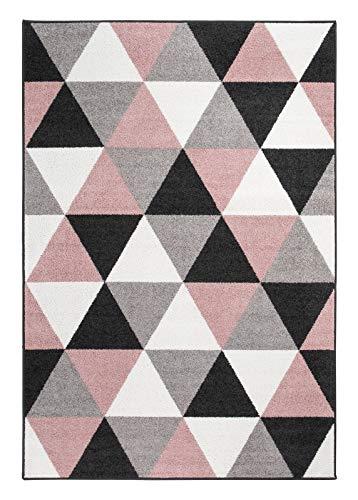 andiamo Teppich Salamanca Kunstfaser Skandinavisch Geometrisch Pflegeleicht, Farbe:Altrosa-Grau, Größe:120 x 170 cm