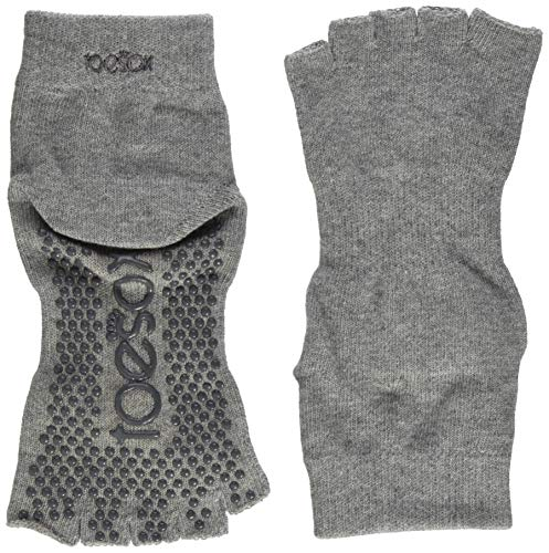 ToeSox Women's Grip Half Toe Ankle Socks, X-Large, Heather Grey
