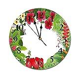 AEMAPE Reloj de Pared Redondo de Hoja, Hibisco, Plumeria, crepé, Jengibre, Hojas de anturio, Imagen de Marco, Reloj con Pilas