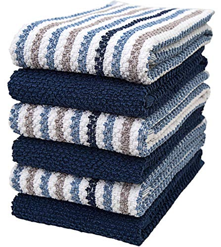 """Premium Kitchen Towels (16""""x 26"""", 6 Pack) – Large Cotton Kitchen Hand Towels – Popcorn Striped Design – 430 GSM Highly Absorbent Tea Towels Set with Hanging Loop – Blue"""