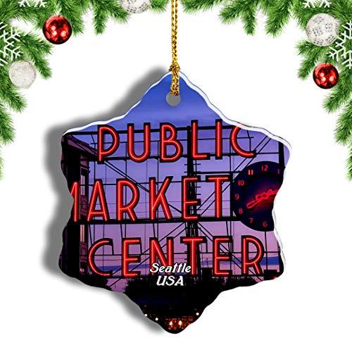 Weekino USA America Pike Place Market Seattle Christmas Ornament Travel Souvenir Tree Hanging Pendant Decoration Porcelain 802' Double Sided