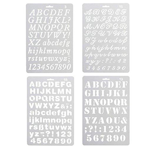 4pcs lettres peignent des figures en plastique de style assorties et des lettres d'art dessinant le dessin au pochoir