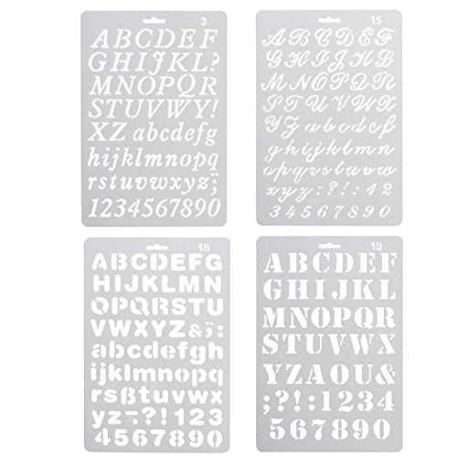 Juego de 4 plantillas de dibujo de alfabeto con varios estilos de plástico, números y letras, para manualidades, diario, álbumes de fotos, álbumes de recortes, agendas, proyectos de arte