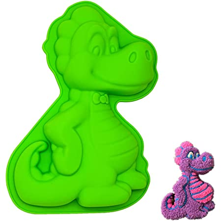 Super mignon Silicone Animal Moule, Silicone, Green, Dinosaur, 24 x 16 x 4 cm