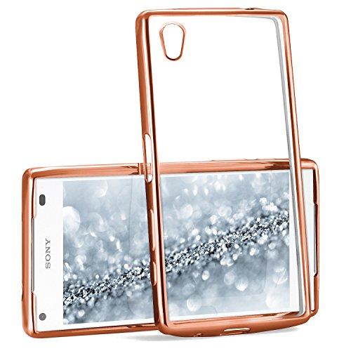 MoEx® Transparente Silikonhülle im Chrome-Style kompatibel mit Sony Xperia Z5 Compact | Flexibler Schutz mit Hochglanz Metallic Rahmen, Rosé-Gold