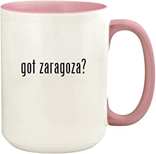got zaragoza? - 15oz Ceramic Colored Handle and Inside Coffee Mug Cup, Pink