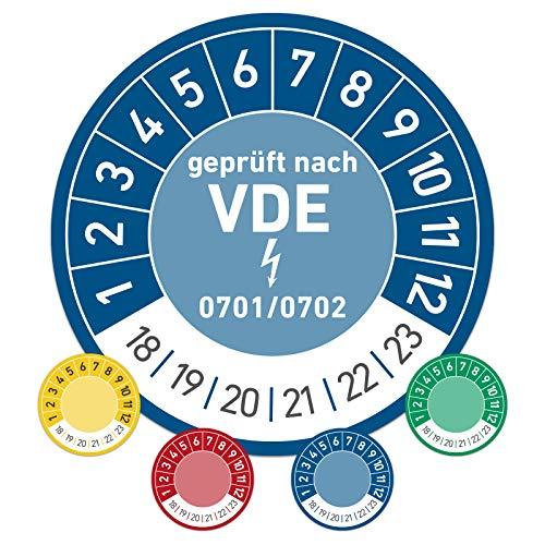 geprüft nach VDE Prüftermin Wartungsplakette Prüfplakette Wartung 30mm Ø blau (100 Stück)