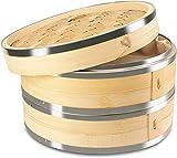 KYONANO Vaporera de bamb, Cesta de bamb - 24cm, para arroz, Dim Sum,...