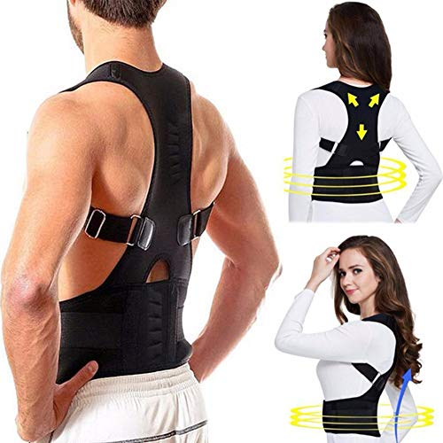Regulable Postura de Espalda Corrector Terapia Magnética Postura Corrector Brace Hombro Volver Brace Cinturón de Apoyo para Hombres y Mujeres,XL