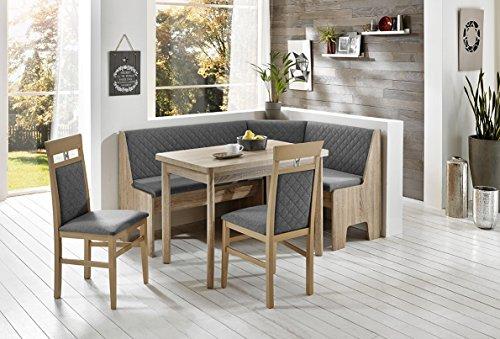 HOWE-Deko Truhen-Eckbankgruppe Eiche Sonoma Sägerau Dekor; Eckbank, 2 Stühle und Vierfußtisch, Rückenpolsterung mit Steppung, Flachgewebe Silber-grau, variabel aufbaubar