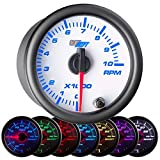 GlowShift White 7 Color 10,000 RPM Tachometer Gauge - for 1-10 Cylinder Gas Powered Engines - White Dial - Clear Lens - 2-1/16' 52mm
