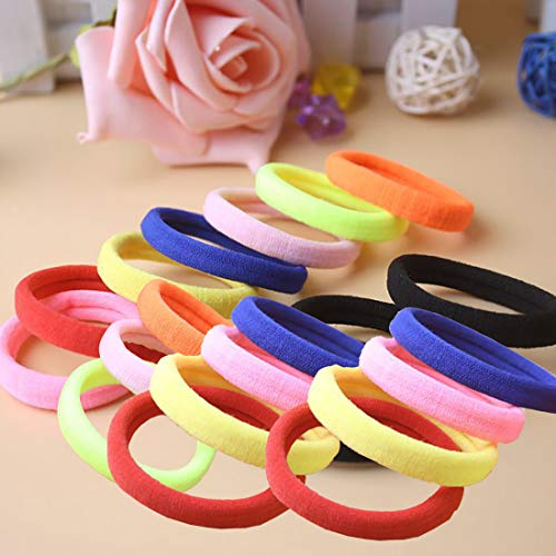 Hair Ties Seamless Hair Bands 4 mm Thick Black Ponytail Holders Hair Accessories No Crease Damage (Colorful20pcs)