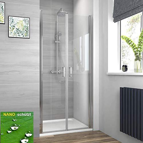 EMKE 70 x 195 cm Duschtür Doppel Pendeltür Duschkabine Duschabtrennung mit Beidseitiger Nano Beschichtung