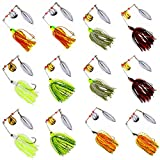 AGOOL Fishing Spinner Baits Lure Kit - Hard Metal Spinner Lures Multicolor Jig Lures Buzzbait Swimbaits for Pike Bass Trout Salmon Freshwater Saltwater Fishing 6pcs/12pcs (Set-2, 6 pcs)