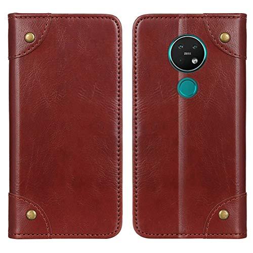 MOONCASE Nokia 6.2 Hülle, Handyhülle Leder Tasche Brieftasche Kartenfach Klapp Hülle mit Standfunktion Magnet Flip Cover Schutzhülle für Nokia 6.2 -Braun