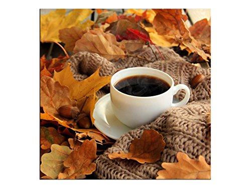 kunst-discounter koffie herfst muurschildering A06235 canvas foto vierkant op spieraam Format 100 x 100 cm bruin