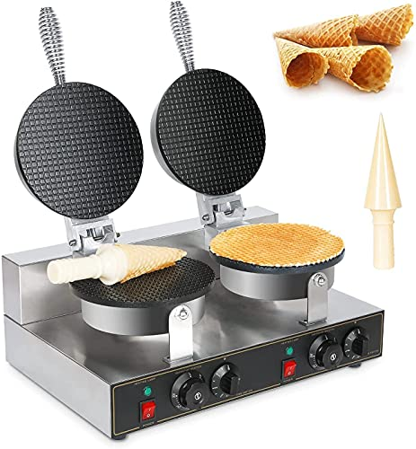 Commercial Ice Cream Cone Maker Waffle Cones Machine Nonstick Double Egg Roll Iron Suitable for Restaurant Dessert Shop Snack Family